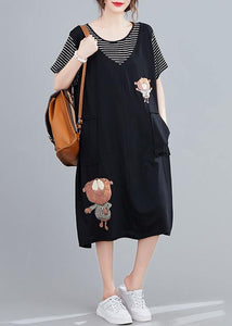 Handmade black Cartoon cotton tunics for women false two pieces Art summer Dresses