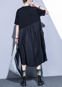 Handmade black Cotton o neck asymmetric Midi summer Dress
