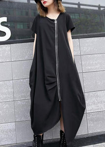 Handmade black asymmetric cotton Long Shirts zippered long summer Dress