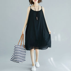 Handmade black chiffon clothes For Women Spaghetti Strap Maxi Summer Dress