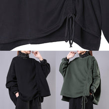 Load image into Gallery viewer, Handmade black cotton Blouse high neck drawstring short shirts