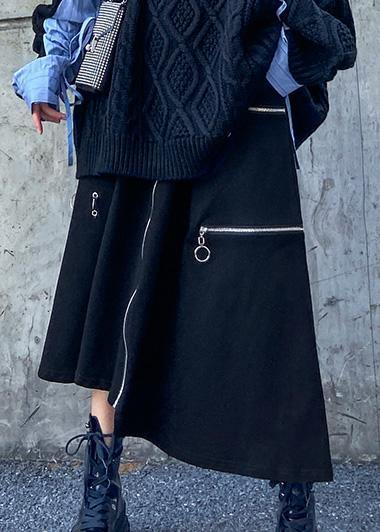 Handmade black cotton quilting clothes asymmetric cotton robes zippered skirts
