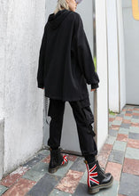 Load image into Gallery viewer, Handmade black cotton tunic pattern hooded oversized fall blouses