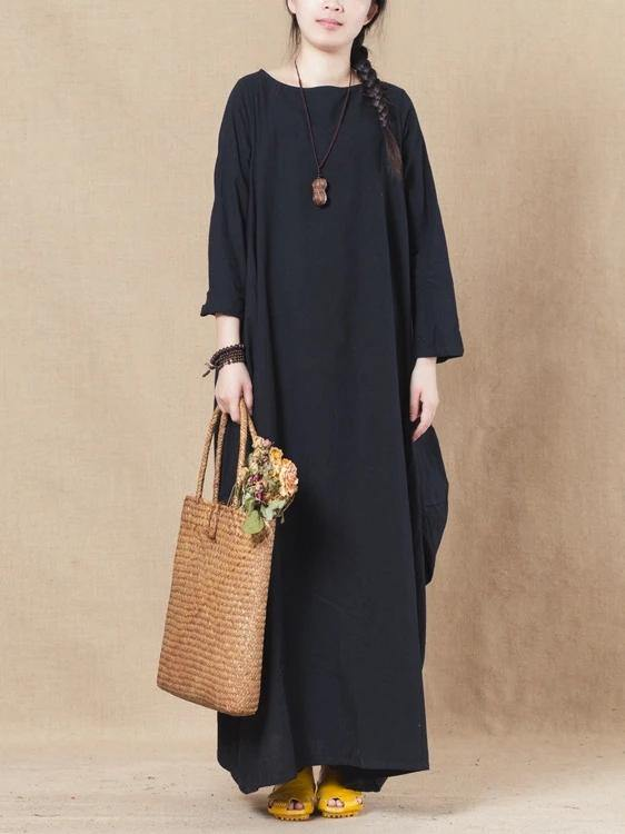 Handmade black linen cotton Wardrobes o neck asymmetric spring Dress