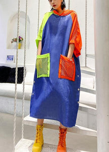 Handmade blue cotton clothes hooded pockets Plus Size summer Dress