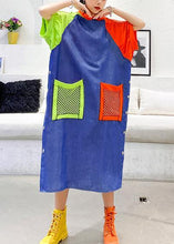 Load image into Gallery viewer, Handmade blue cotton clothes hooded pockets Plus Size summer Dress