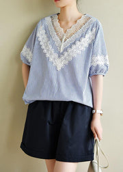 Handmade blue striped tops v neck patchwork lace Art top