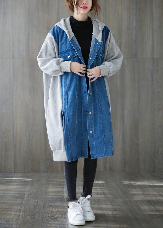Handmade blue  tunics for women Tops hooded patchwork outwears