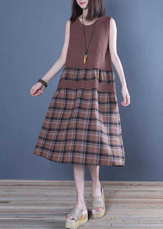 Handmade chocolate plaid linen dresses o neck patchwork Vestidos De Lino Dress