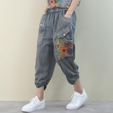Load image into Gallery viewer, Handmade denim blue casual elastic waist patchwork Shape wide leg pants