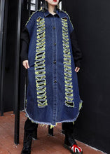Load image into Gallery viewer, Handmade denim blue patchwork sleeve top quality coats women Photography Hollow Out fall coats