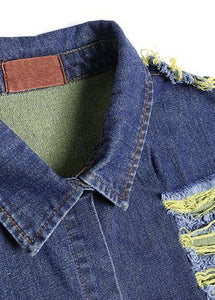 Handmade denim blue patchwork sleeve top quality coats women Photography Hollow Out fall coats