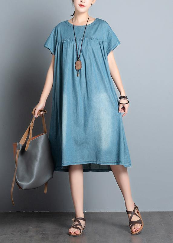 Handmade denim blue quilting clothes o neck patchwork daily summer Dress