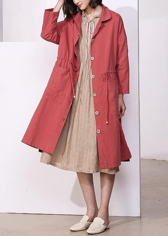 Handmade drawstring Plus Size lapel collar tunic coat red oversized outwear