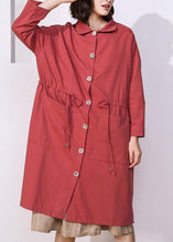 Load image into Gallery viewer, Handmade drawstring Plus Size lapel collar tunic coat red oversized outwear