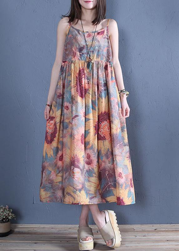 Handmade floral cotton Tunics Spaghetti Strap wrinkled Traveling summer Dress