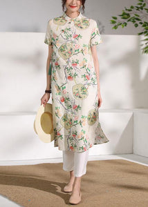 Handmade floral linen Long Shirts stand collar Button Down Midi Dresses