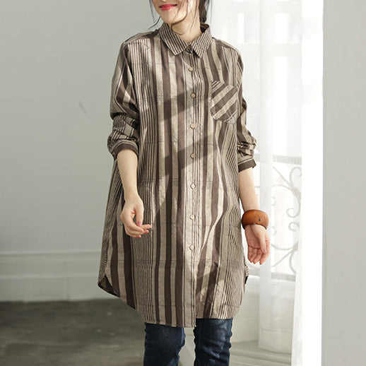 Handmade gray chocolate striped cotton clothes For Women plus size Shirts Button Down Knee shirt