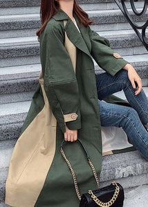 Handmade green Fine outwear Cotton double breast patchwork coat