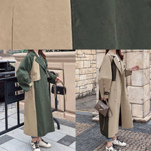 Load image into Gallery viewer, Handmade green Fine outwear Cotton double breast patchwork coat
