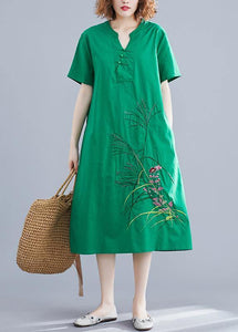 Handmade green embroidery linen Robes Chinese Button cotton summer Dresses