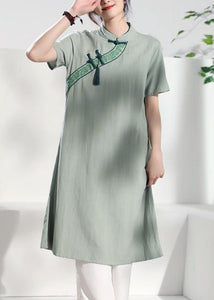 Handmade green embroidery linen dresses stand collar loose summer Dress