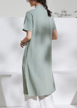 Load image into Gallery viewer, Handmade green embroidery linen dresses stand collar loose summer Dress