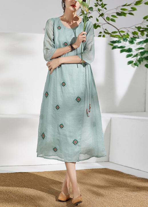 Handmade green linen clothes For Women o neck embroidery long  Dresses