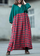 Load image into Gallery viewer, Handmade green patchwork Plaid cotton quilting dresses v neck lantern sleeve cotton robes summer Dress