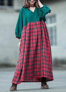 Handmade green patchwork Plaid cotton quilting dresses v neck lantern sleeve cotton robes summer Dress
