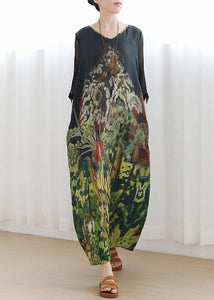 Handmade green print Robes v neck tie waist Maxi summer Dress