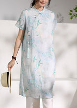 Load image into Gallery viewer, Handmade green print linen clothes stand collar tassel oversized summer Dresses