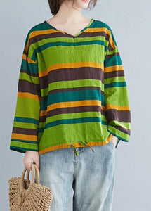 Handmade green striped cotton shirts baggy tunic spring shirts