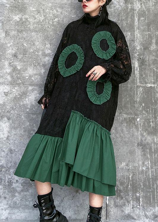 Handmade high neck patchwork cotton quilting clothes Wardrobes black A Line Dresses