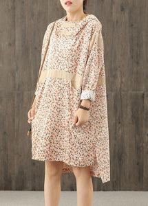 Handmade hooded patchwork dress Sleeve nude print Dresses