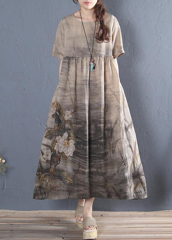 Handmade khaki print cotton dress o neck short sleeve Vestidos De Lino summer Dress