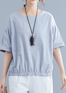 Handmade light gray cotton linen shirts women o neck half sleeve summer tops