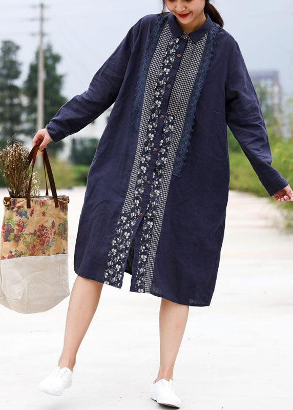 Handmade linen Robes Fashion Retro Blue Splice Turn-down Collar Linen Dress