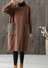Load image into Gallery viewer, Handmade linen Tunics Women Embroidered Turtleneck Winter Cotton Midi Dress