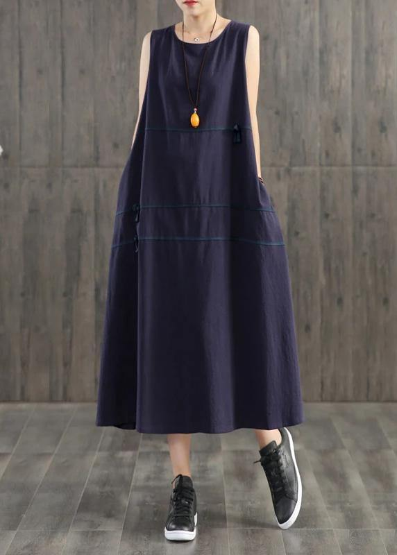 Handmade linen quilting dresses Korea Pure Color Appliques Sleeveless Dress For Women