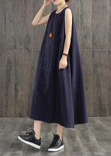 Load image into Gallery viewer, Handmade linen quilting dresses Korea Pure Color Appliques Sleeveless Dress For Women