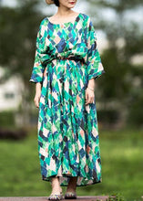 Load image into Gallery viewer, Handmade multicolor Plaid cotton clothes o neck tie waist Maxi summer Dresses