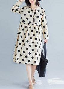 Handmade nude dotted Cotton tunic pattern v neck Plus Size fall Dress