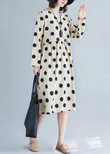 Load image into Gallery viewer, Handmade nude dotted Cotton tunic pattern v neck Plus Size fall Dress
