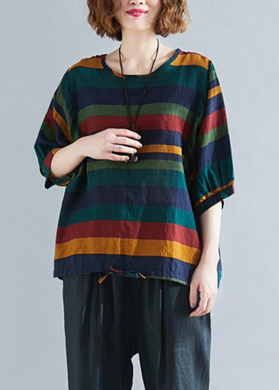 Handmade o neck Batwing Sleeve linen spring clothes For Women rainbow shirts