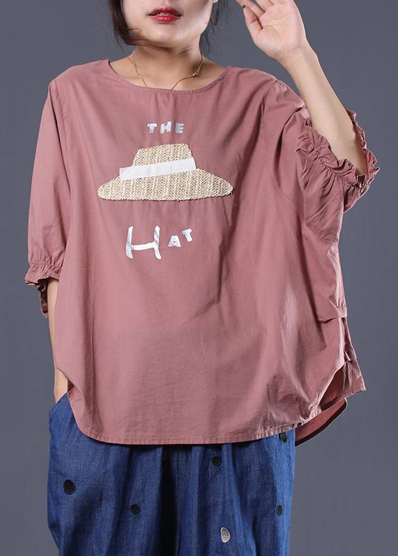 Handmade o neck cotton Long Shirts Inspiration pink prints top summer