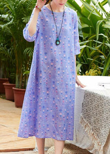 Handmade o neck half sleeve linen dress Fabrics light purple Dresses summer