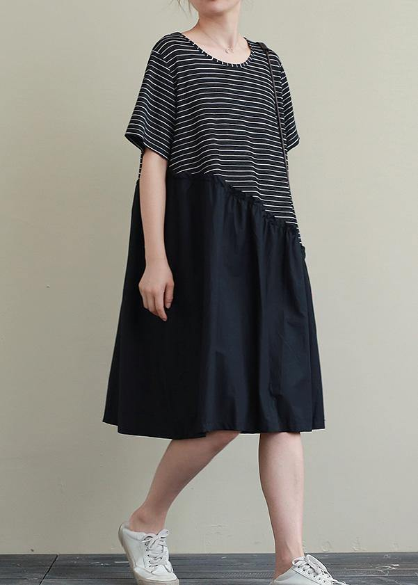 Handmade o neck patchwork Cotton Tunic Neckline black striped Dress