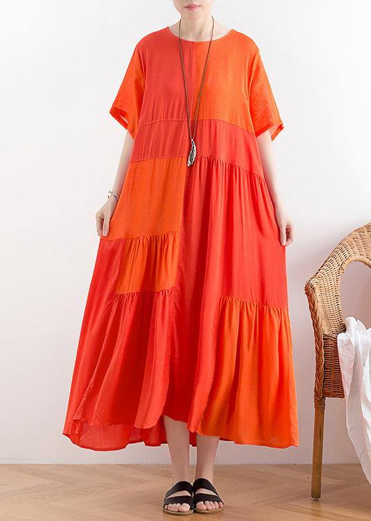 Handmade o neck patchwork cotton clothes For Women Catwalk orange long Dress