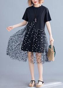 Handmade o neck patchwork tulle Cotton black Dress summer